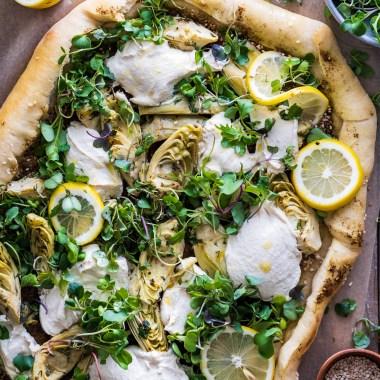 Vegan lemon artichoke za'atar flatbred
