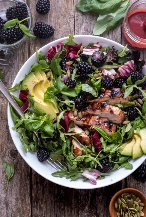 blackberry basil grilled chicken salad