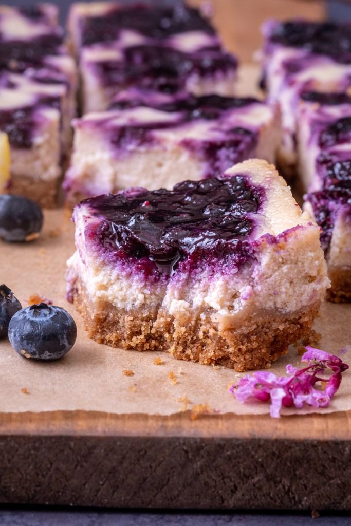 Vegan lemon blueberry cheesecake bars