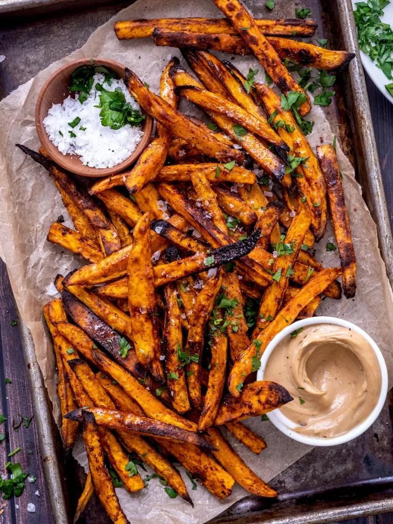 Smoky oven baked sweet potato fries with tahini