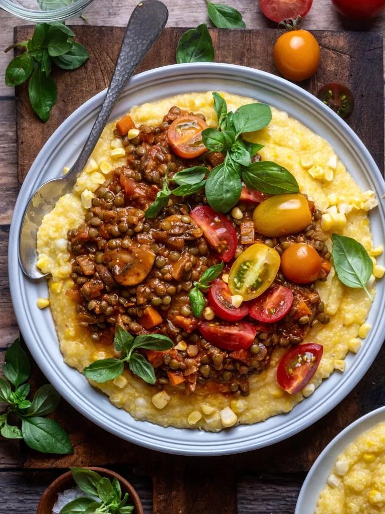 Balsamic Lentil Ragu with Sweet Corn Polenta