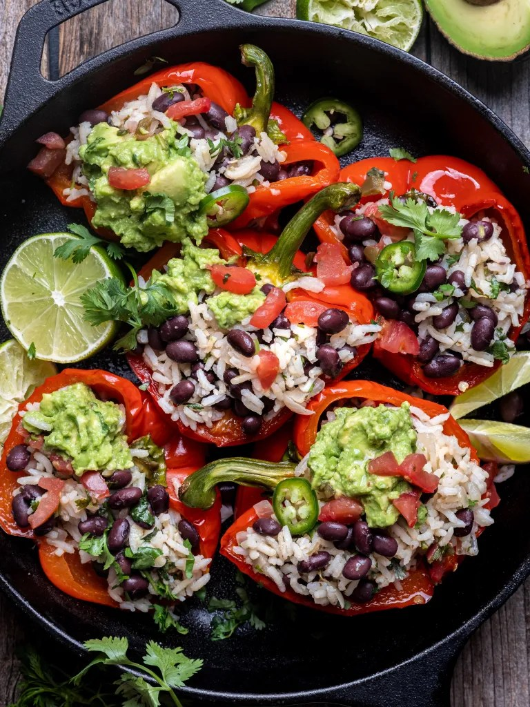 Cilantro Lime Rice and Black Bean Stuffed Peppers