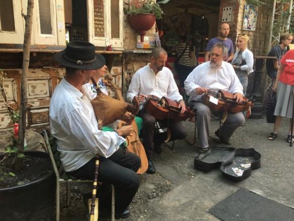local Hungarian band playing at a farmers market at szimpla kert