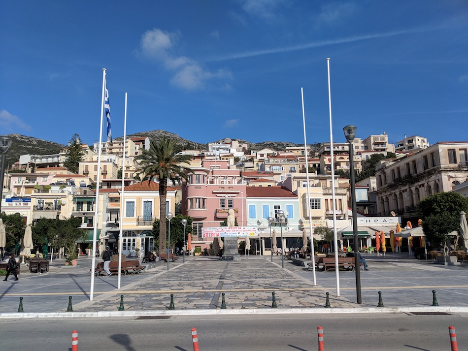 Working in Samos refugee camp in Greece with an NGO called Samos Volunteers. Charming downtown Samos Greece