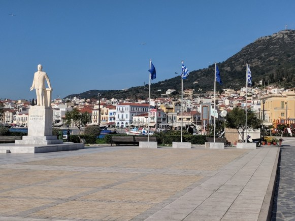 Working in Samos refugee camp in Greece. Downtown Samos, Greece