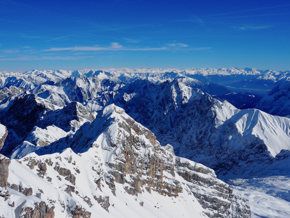 View from Zugspitze, Germany's highest peak in winter.