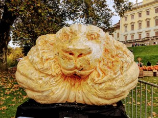 Giant pumpkin carving at the world's largest pumpkin festival in Germany