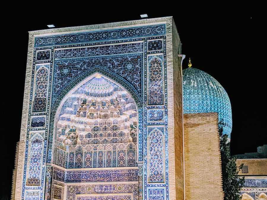 samarkand madrasa at night