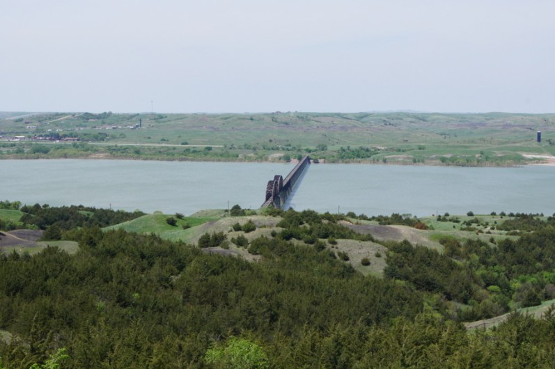 Bridge over the Missouri River at overlook on I-90 in South Dakota