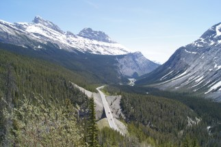 Looking down on the Icefields Parkway from Bridal Veil Falls overlook. The overlook is at the end of a steep upward climb.