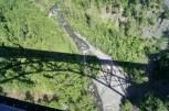 Shadow of the train on the bridge over Hurricane Gulch
