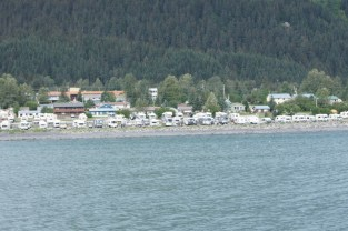 Our campground from the water - we're in the middle on the back row