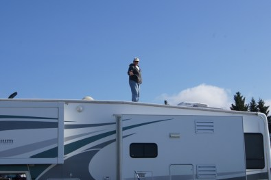 Henry went up on the RV for a better view
