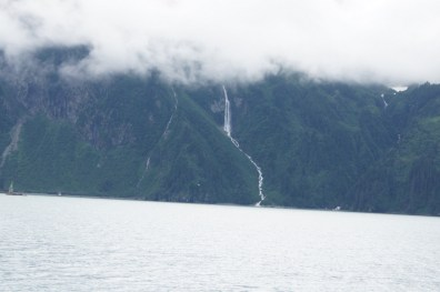 This waterfall looks like it is coming out of the clouds