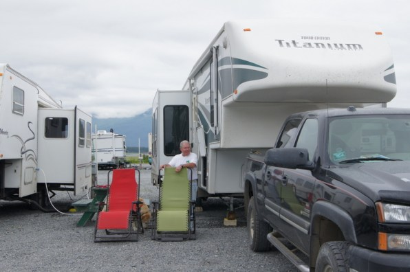 Our campsite at Bayside RV Park in Valdez. The bay is behind the camper.