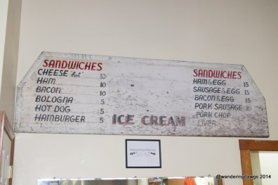 Old Menu at the Snappy Lunch in Mt. Airy, NC