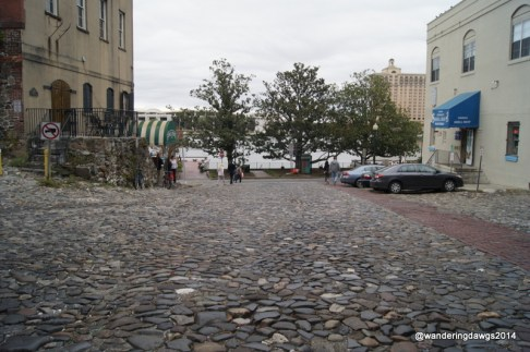 Street paved with cobblestones previously used as ship ballast