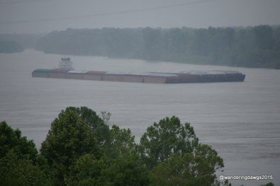 Barge in the rain on the Mississippi River