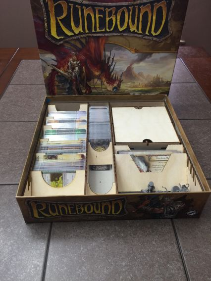 Has a section that holds Standard American cards in sleeves and another section that holds mini american cards in sleeves. There is a third section to hold tarot sized character cards in sleeves and the token box. Cards are held at a 45 degree angle so they are easier to view and remove.