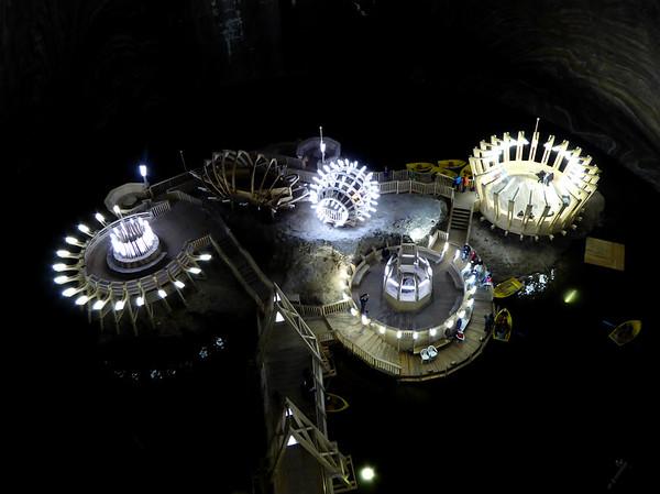Lake inside Turda Salt Mine