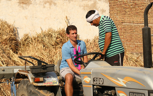 Driving a tractor in India