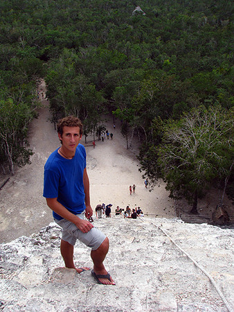 Climbing the Pyramid at Coba, Mexico
