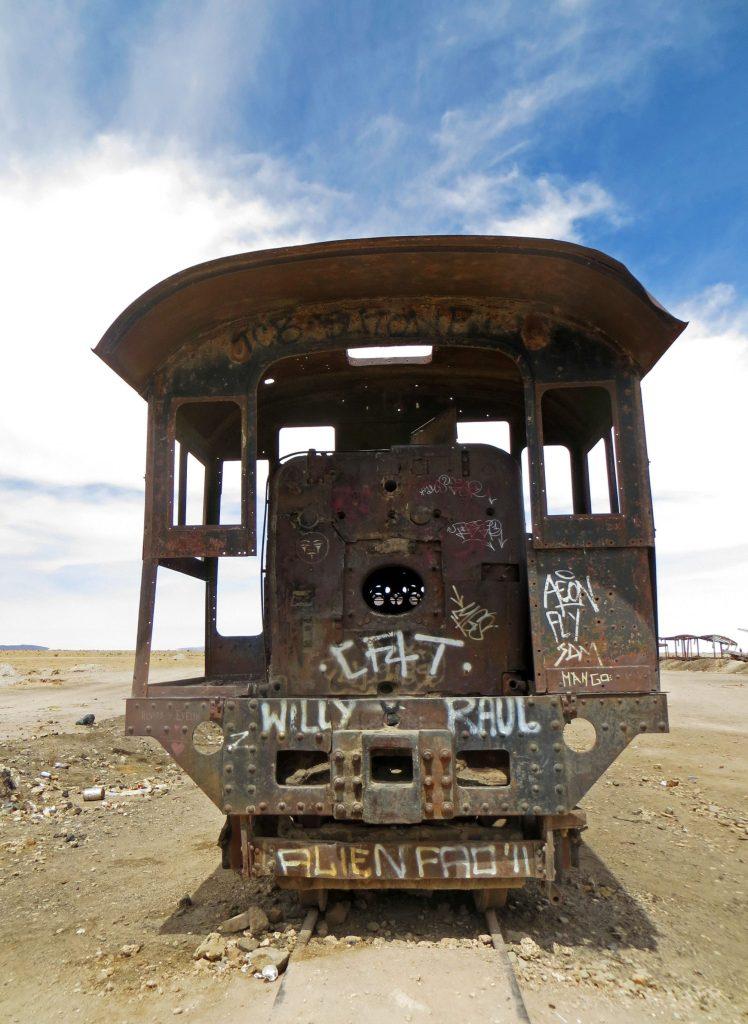 Dead train grafitti
