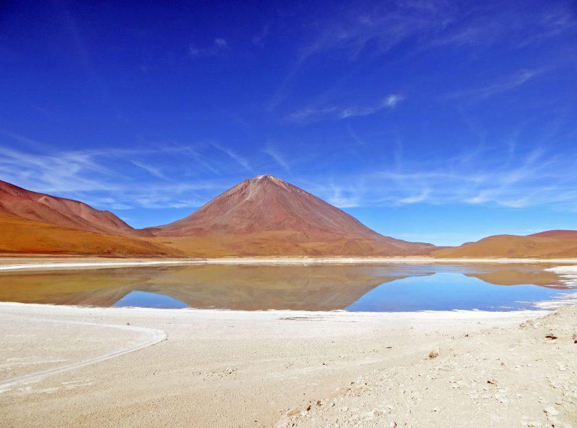 Laguna Colorada and colourful mountains Salar de Uyuni Bolivia