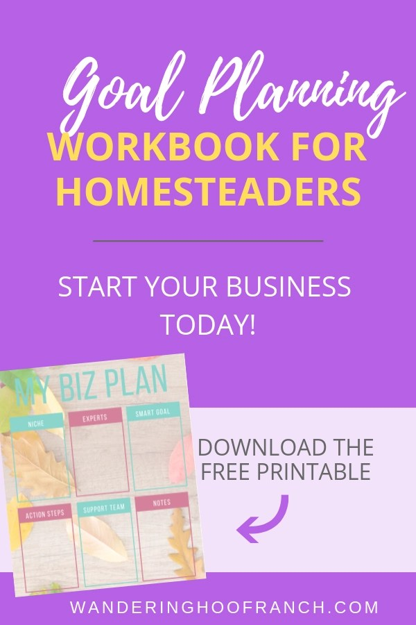 Goal Planning Workbook for Homesteaders. 5 steps to start your business today.