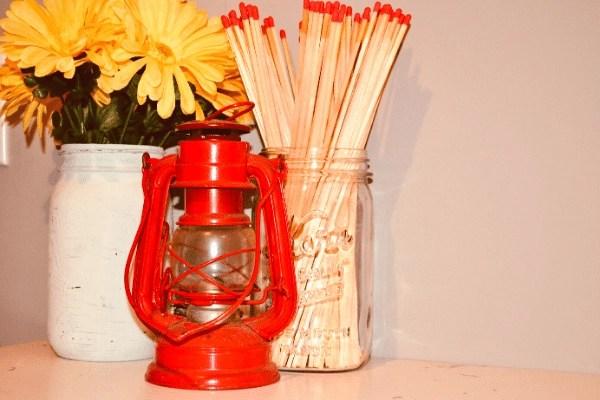 unpainted mason jar and matches