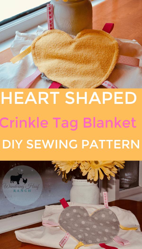 heart shaped crinkle tag blanket diy sewing pattern