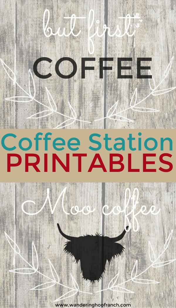 Free Farmhouse Style Coffee Bar Printables and Decor Roundup Ideas