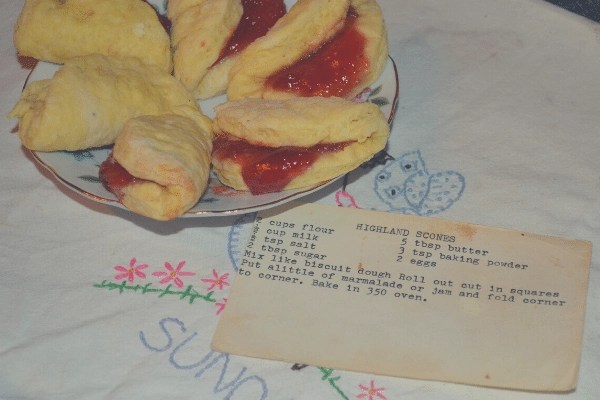 plate of scones and vintage recipe card