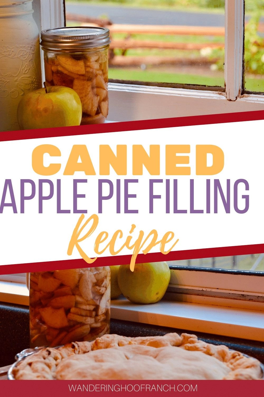 CANNED APPLE PIE FILLING IN MASON JAR ON COUNTER PIN IMAGE