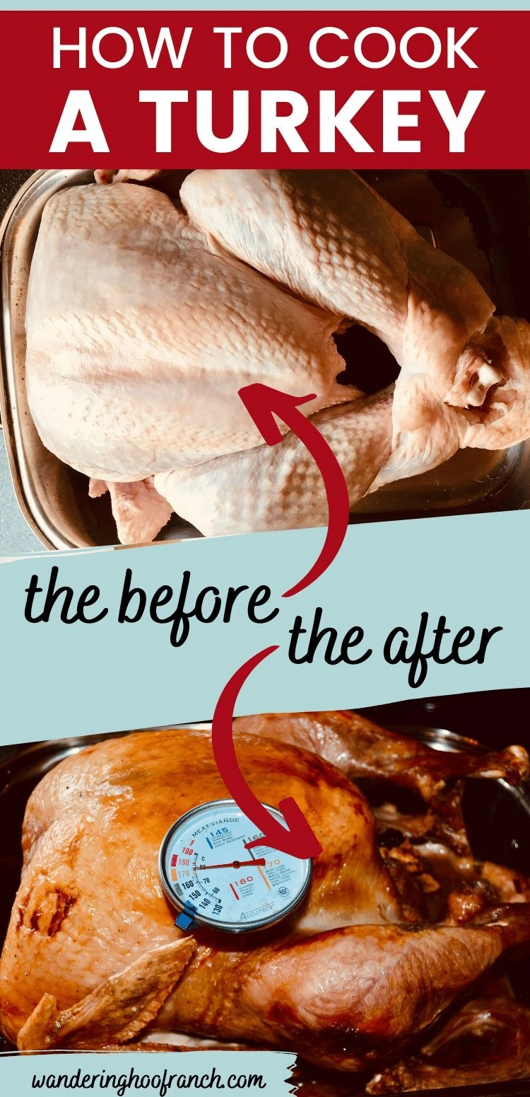How to cook a turkey with stuffing in a roasting pan, before and after images