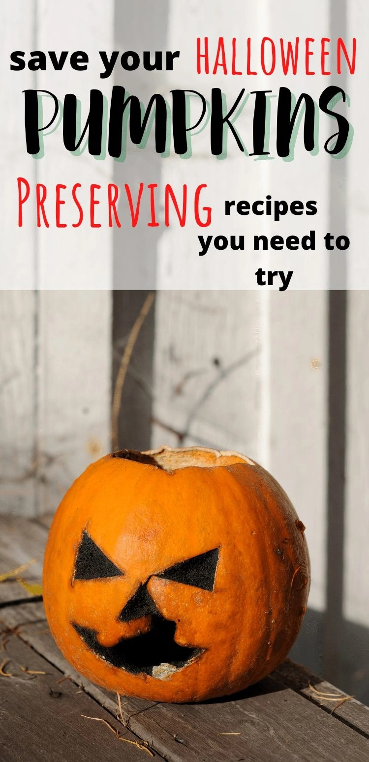 save your halloween pumpkins with these preserving recipes you need to try. rotting jack o lantern with white fence behind