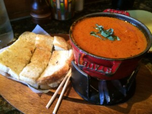 The AMAZING Tomato Basil Fondue with Grilled Cheese!