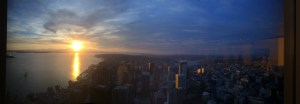 Seattle sunset from the Columbia Tower Club (76th floor)