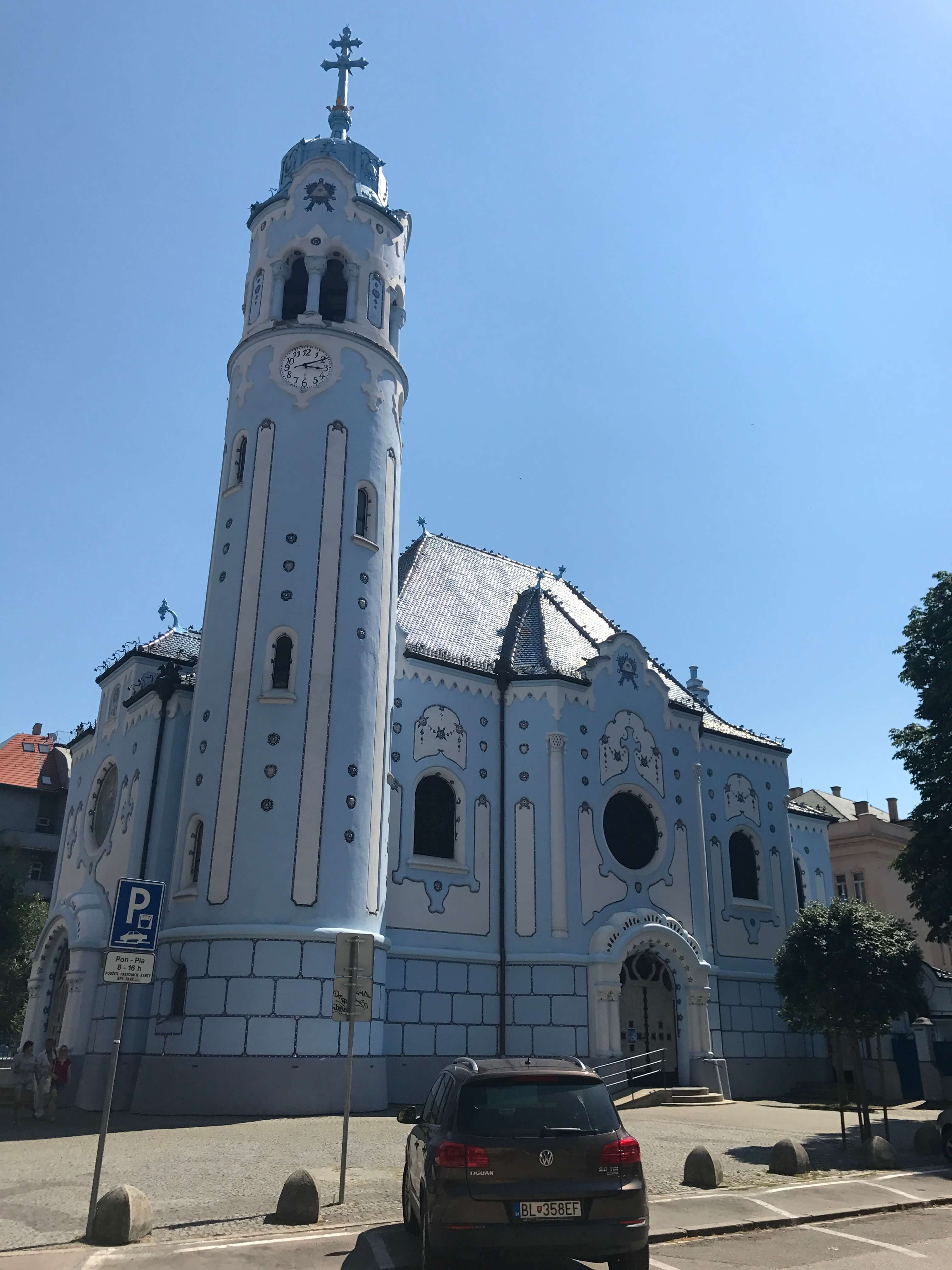 The Church of St. Elisabeth is unique and painted blue.