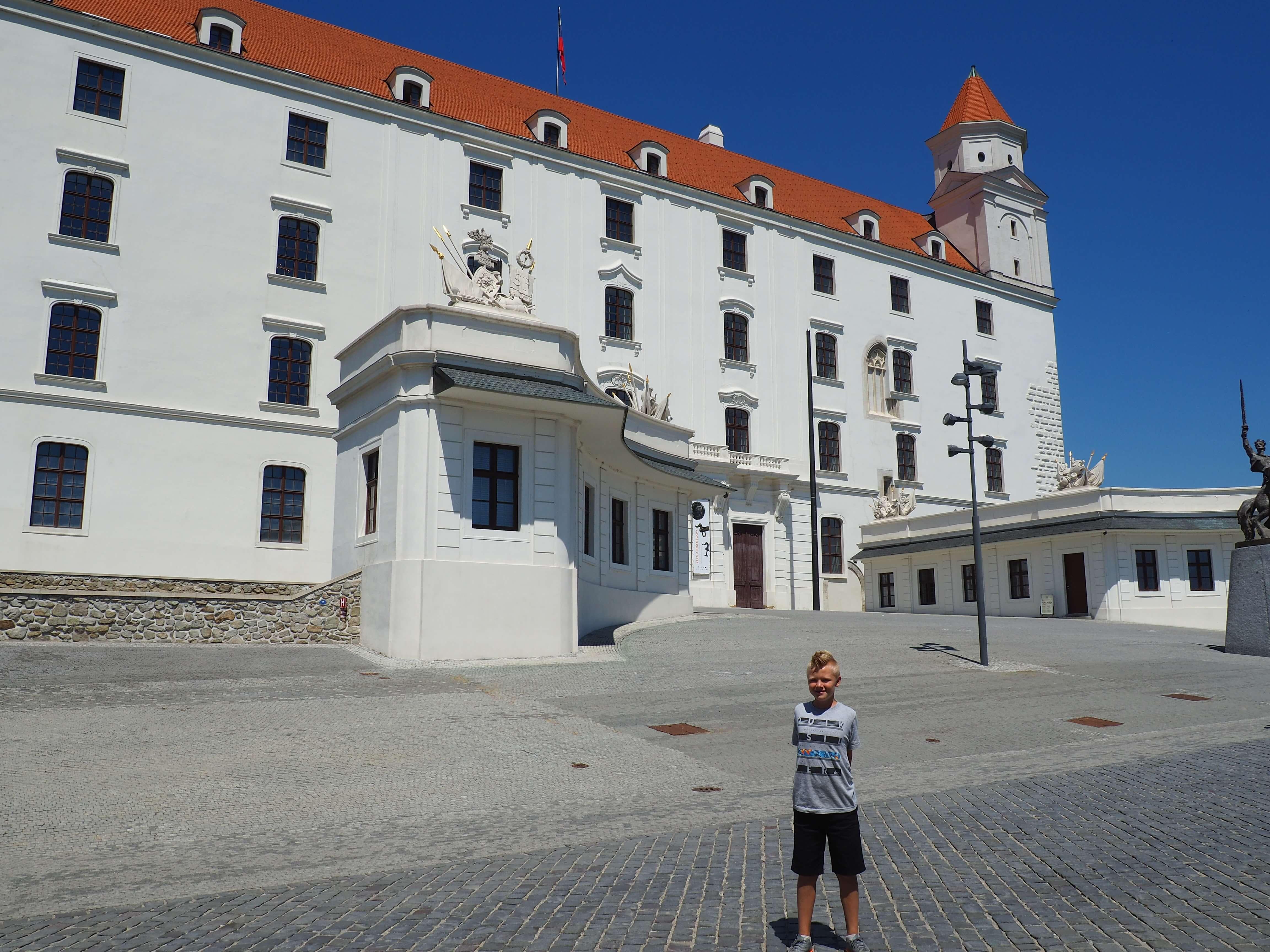 Aiden standing in front of Bratislava Castle