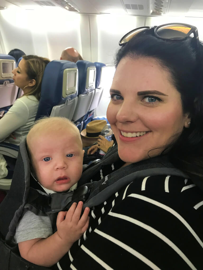 Baby Finn on his first international flight.