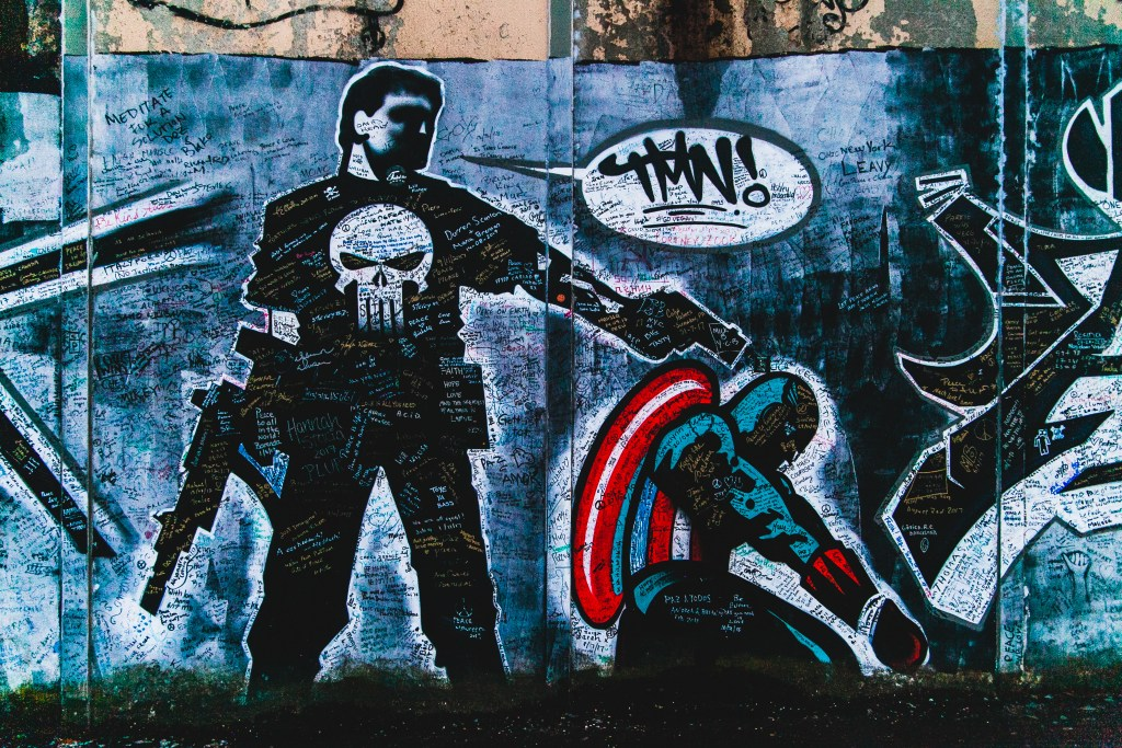 belfast street art peace wall captain america