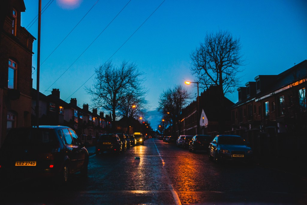 rainy neighborhood night ireland