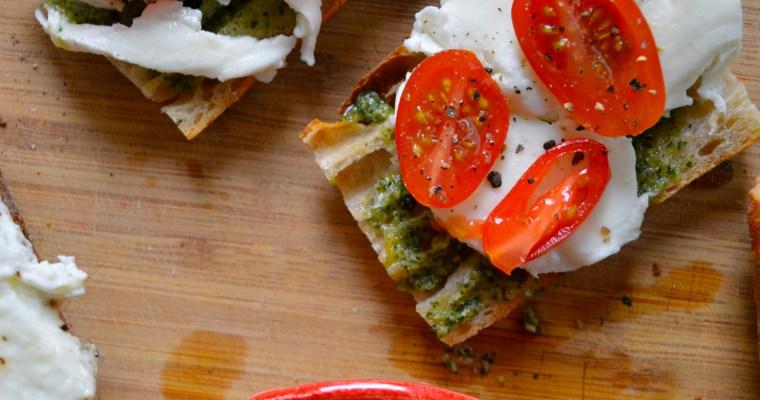 Pesto + Mozzarella Breakfast Sandwiches on Baguette