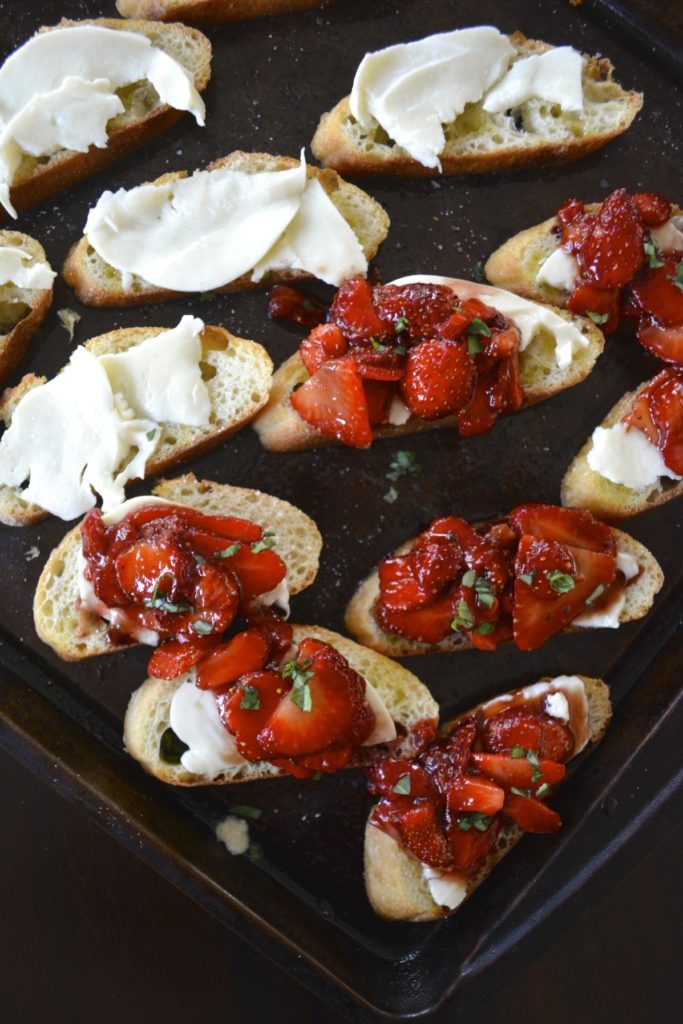 Strawberry Balsamic Bruschetta on Baguette with Mozzarella