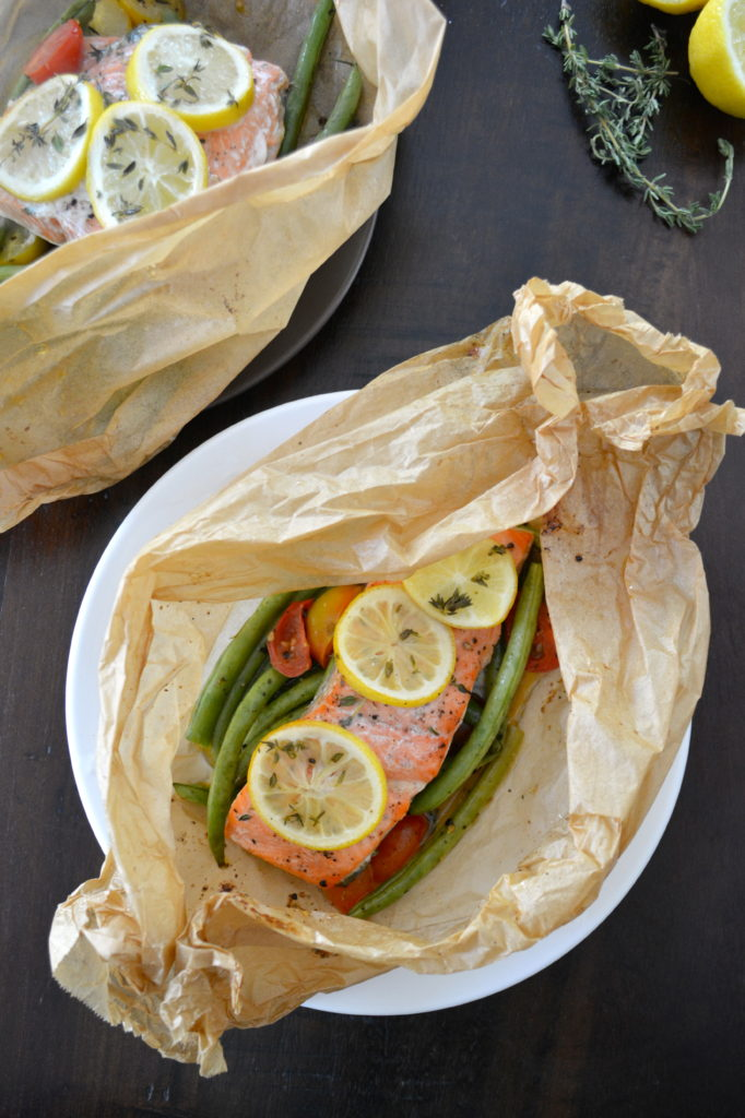 Salmon en Papillote with Lemon, Green Beans, and Thyme