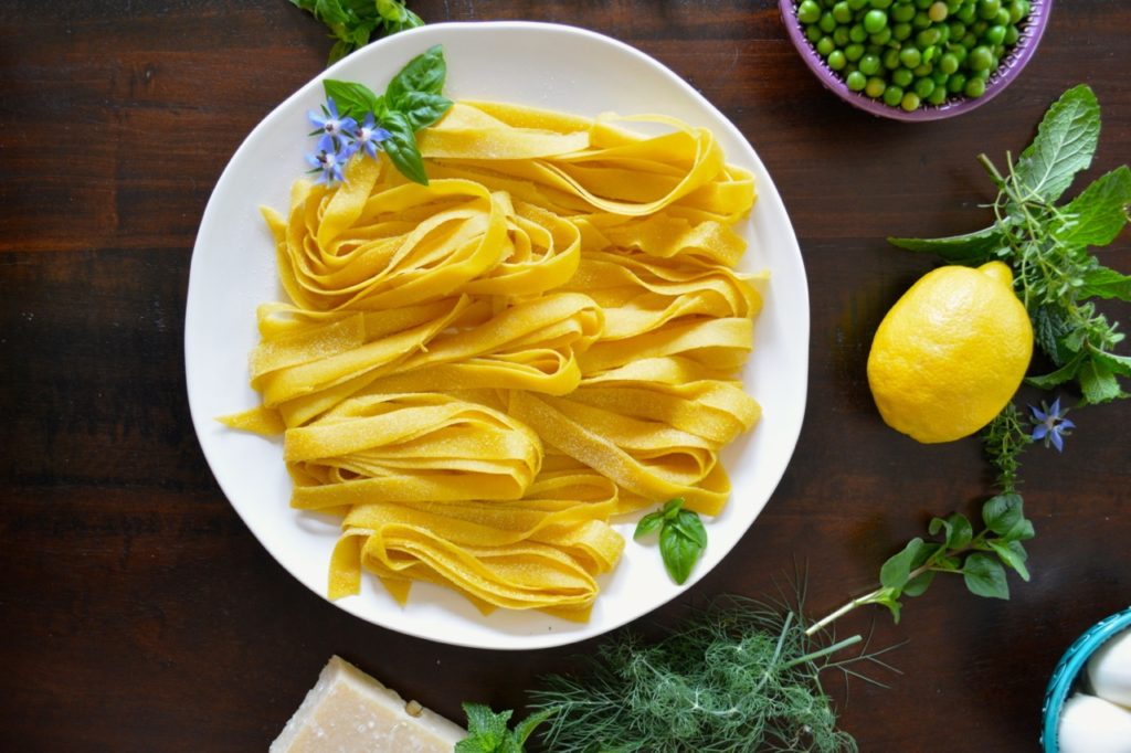 Spring Pea and Herb Pasta with Lemon and Burrata