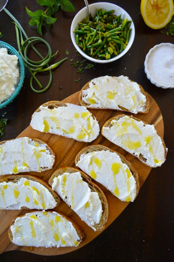 Garlic Scape and Ricotta Crostini
