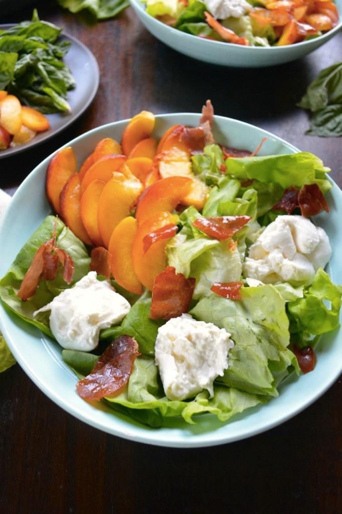 Peach and Burrata Salad with Sweet Basil Vinaigrette