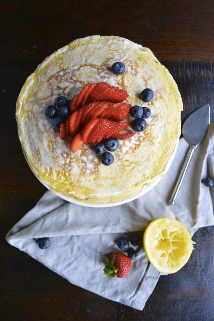 Lemon and Berry Crepe Cake Recipe